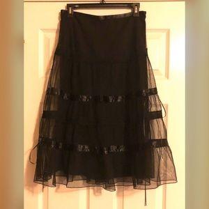 Express Black Tiered Sheer Overlay & Ribbon Skirt